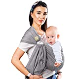 Baby Wrap Ring Sling Ergo Carrier - All-in-1 Stretchy Baby Wraps with Detachable Rings- Baby Sling - Infant Carrier - Babys Wrap - Hands Free Babies Carrier Wraps