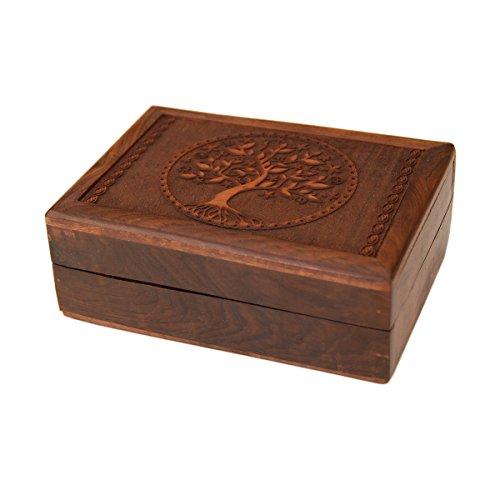lillybox Schatulle Kästchen Schmuckkästchen Tarotdose aus Holz mit geschnitztem Baum handgemacht