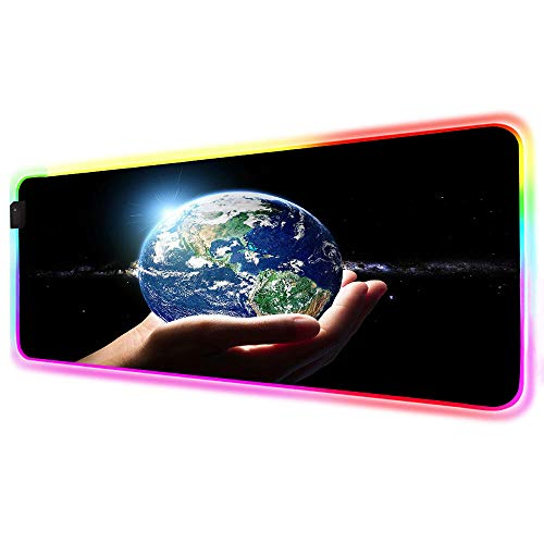 Earth Pattern RGB Mouse Pad Gaming Accessories Large Led with Backlight XXL Gaming Table Mat Pc Gaming Desk Mat 90X40Cm