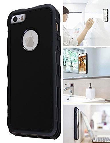 MONCA ] Anti Gravity Cellphone Case [Black] Magical Nano Technology Stick to Wall, Glass, Whiteboards, Tile, Smooth Flat Surfaces (Goat Case for iPhone 5 5S SE)