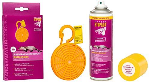STOP&GO Anti-Marder-Duftkörbchen Duftkonzentrat auf Tierfettbasis + Duftmarken-Entferner Spray 300ml
