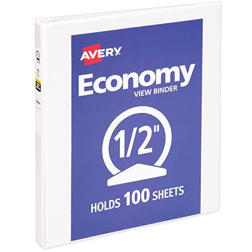"Avery 1/2 inch Economy View 3 Ring Binder, Round Ring, Holds 8.5"" x 11"" Paper, 1 White Binder (5706)"