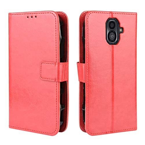 SULIAN Kyocera Torque G04 Hülle, Zebra PU Leder Brieftasche Handyhülle Flip Tasche Schutzhülle mit Kartenfach & Magnetverschluss Ständer Hülle für Kyocera Torque G04 Rot