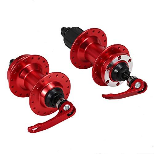 Fesjoy 1 par de bujes para bicicleta 36H de disco de aleación de aluminio, buje delantero y trasero con pinchos de palanca de liberación rápida