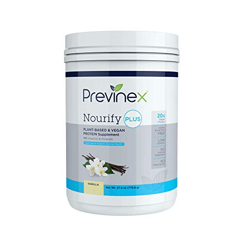 Previnex Nourify PLUS Plant Based Protein Shake - All Natural Vegan Protein Powder, High Protein & Low Sugar, Gluten Free, Soy Free & Dairy Free, Vanilla (27.7 oz)