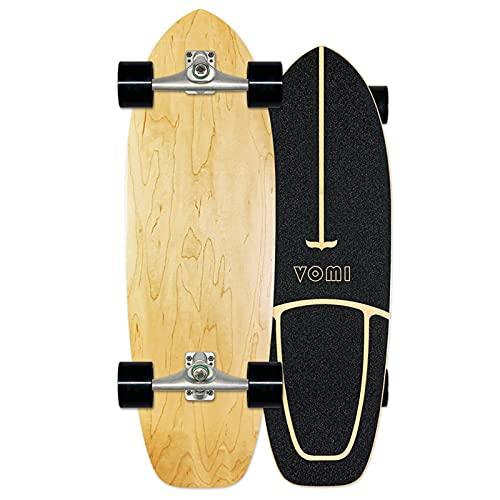 WRISCG Surfskate Skateboard Carving Pumpping Surf Skate Cruiser Boards, Completo Arce Tablero 78×24cm, Rodamientos de Bolas ABEC Alta velicidad, 7 Capas Arce, para Principiantes y Profesionales,E