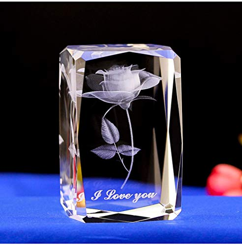 E-isata 3D Laser Crystal Rose Flower Engrave I Love You Keepsake Paperweight Ornaments for Anniversary Wedding Souvenirs Christmas Birthday Valentines Wedding Gift