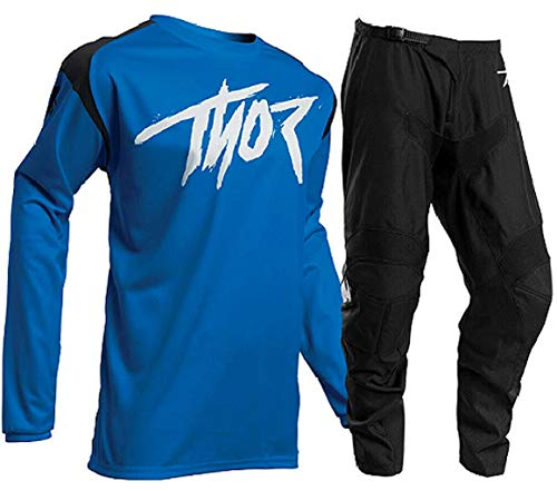THOR MX SECTOR LINK 2020 Adult Race Suit Motocross Shirt Trouser Quad Dirt Bike ATV Motorcycle Off Road Enduro BMX Jersey and Pant Set - Blue (BLUE : TOP (XL), 34 inches)
