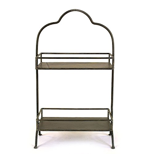Creative Co-op Decorative Metal Two Tier Tray with Handle, 10.6' L x 5.9' W x 17.9' H