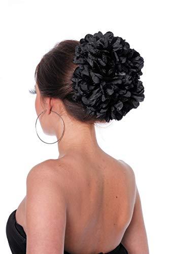 Wilbers - AC0133/NOIR - Grosse fleur sur barrette noire