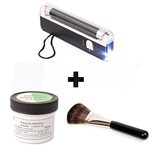 SpyShop Dieb überführen! UV-Set gegen Diebstahl | UV-Pulver, UV-Lampe, Pinsel | Detektiv Set | Jetzt noch effektiver!