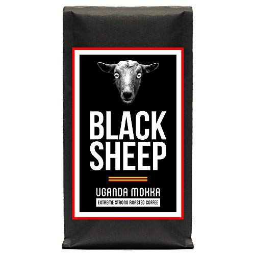 Black Sheep Coffee - Uganda Mokka | Ganze Bohnen Röstkaffee aus Uganda | Starker Kaffee mit wenig Säure | sehr dunkle Trommelröstung | Nicht für schwache Gemüter und schwangere Frauen empfohlen