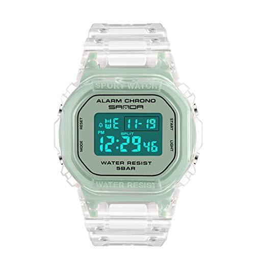 Outdoor Relojes, L'ananas Deportes Multifuncional Banda Transparente LED Adolescente Estudiante Relojes de Pulsera (Verde)