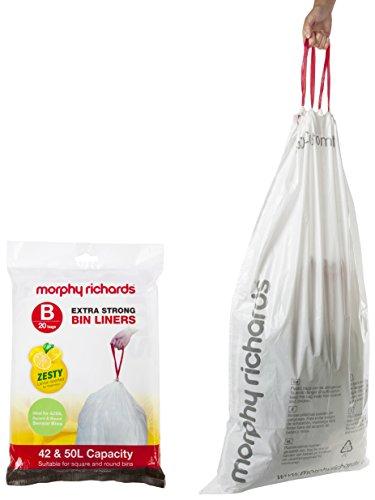 Weiße Morphy-Richards-979002-Zitronenduft-Müllbeutel aus Kunststoff, Plastik, weiß, 42/50 L (Pack of 20)
