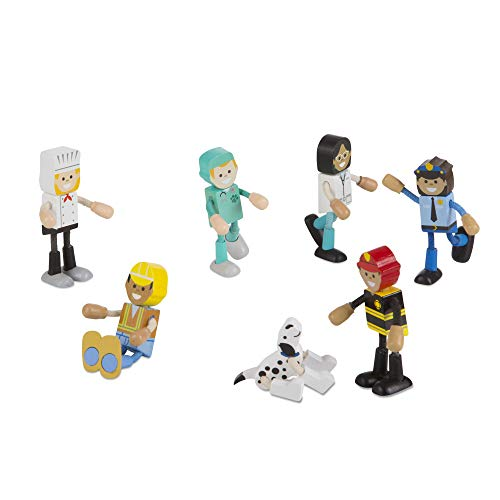 Melissa & Doug Wooden Flexible Figures - Career Dolls