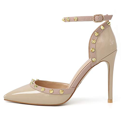 HECATER Studded Heels for Women Ankle Strap Dress Pumps 209-Apricot 10 US