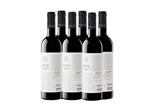 Beso de Rechenna Crianza - Vino Tinto Requena - 750 ml - Pack de 6 botellas - 4500ml