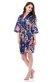 Kimono Robes for Women Floral Peacock Short Silk Bridesmaid Robes Wedding Party Navy M