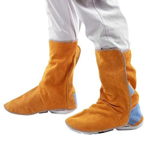 Protector de zapatos de cuero de piel de vacuno de alta resistencia, polainas de soldadura resistentes al calor, cubierta de pies de zapatos de protección de trabajo para soldador, cubiertas de botas