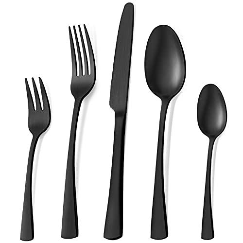 Bestdin Set di posate per 6 persone, set di posate nero opaco da 30 pezzi con cucchiaio e forchetta per coltelli, set di posate in acciaio inossidabile di alta qualità, lavabili in lavastoviglie.