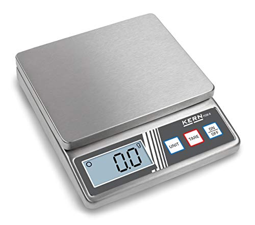 Compact stainless steel scale [Kern FOB 5K1S] Stainless steel design of the housing and weighing plate, Weighing Range [Max]: 5 kg, Readout [d]: 1 g