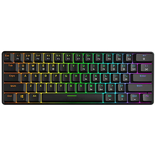 Fauge Mechanische Tastatur, 61 Tasten Optical Switch Multi-Color RGB Led Backlit Wired Gaming Keyboard, Ip67 Wasserdicht Handgelenk-Rest, Ergonomisch, Für Pc/Gamer, Typist