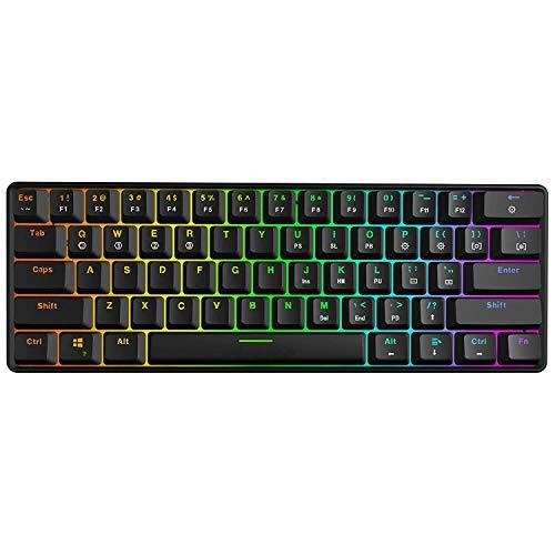 Cobeky Mechanische Tastatur, 61 Tasten Optical Switch Multi-Color RGB Led Backlit Wired Gaming Keyboard, Ip67 Wasserdicht Handgelenk-Rest, Ergonomisch, Für Pc/Gamer, Typist