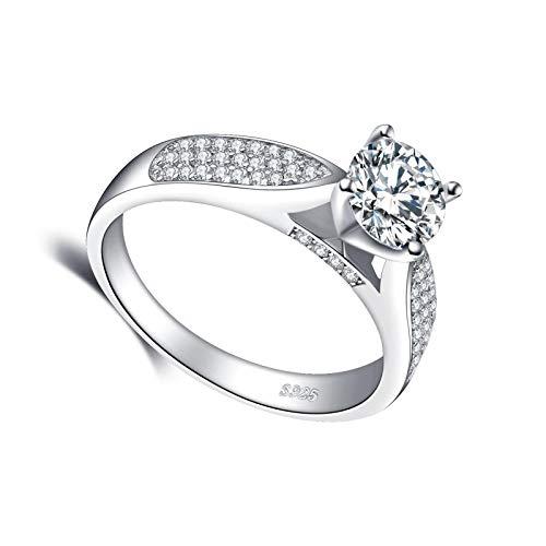 litulituhallo Anillos de plata de ley chapados en oro blanco para ella clase de diamante de 1,2 quilates
