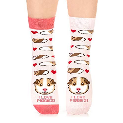 Petsy Lustige Socken für Damen und Herren - Baumwolle Bunt Motivsocken mit Spruch - Perfekt Verrückte Geschenke Mehrfarbig,I Love Piggies,39-42