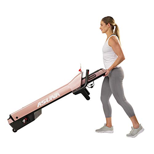 Sunny Health & Fitness 7750P Asuna SpaceFlex Motorized Running Treadmill with Auto Incline, Wide Treadmill, Space Saving Folding and Walking Treadmill, Pink