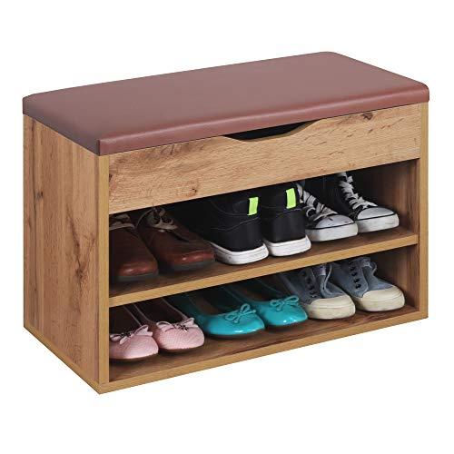 RICOO WM032-EW-B Banco Zapatero 60x42x30cm Armario Interior con Asiento Organizador Zapatos Mueble recibidor Perchero Madera Roble marrón Wotan