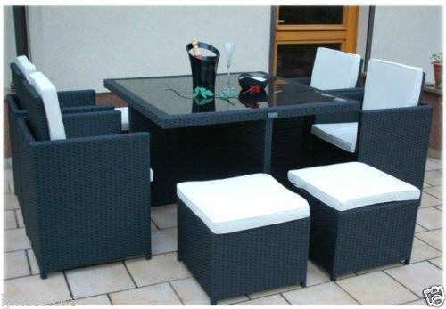 DiscountSeller 8 Seater 9 Piece rattan garden furniture patio garden furniture set Cube Chairs Stools table (Black)