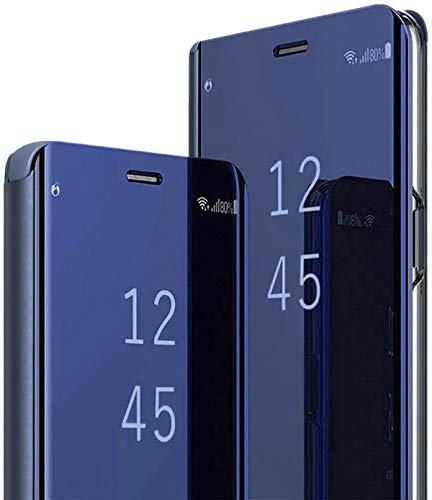 Coque pour Samsung Galaxy S9 Clear View Flip Case Placage Miroir Effet Coque à Rabat Rigide PC+PU Cuir Etui Galaxy S9 360 Full Body Antichoc Clapet Bumper Hybrid Super Fin Transparente Cover Case