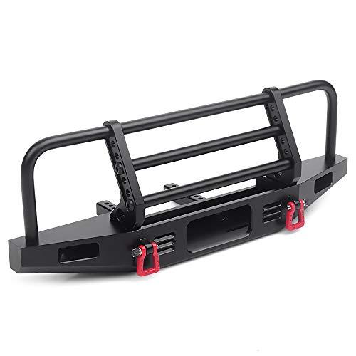 INJORA RC Paraurti Metallo Front Bumper con Traino Gancio per 1:10 RC Crawler Traxxas TRX4 Defender Axial SCX10 SCX10 II 90046 90047 (Nero)