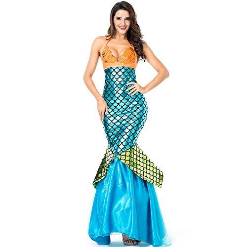 COSPLAYYL Mermaid Kostüm Halter Behälter Kleid Halloween Cosplay Kostüm Partei Paillette Langer Rock Blue-OneSize