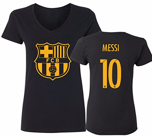 Barcelona Soccer Shirt Lionel Messi #10 Futbol Jersey Womens V-Neck T-Shirt Black