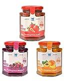 NO SUGAR SUGAR Fruchtaufstrich Probier-Set Erdbeere, Waldfrucht, Aprikose, ohne Zuckerzusatz mindestens 80% Fruchtanteil mit Erythrit und Stevia | Brotaufstrich hergestellt in der EU (Je 260g)
