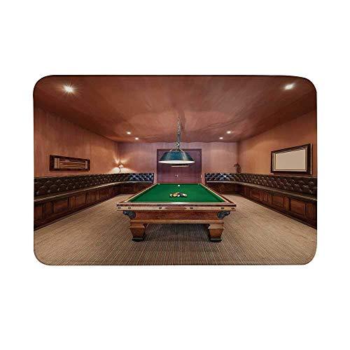Kinhevao Modernes Dekor rutschfeste Türmatte, Unterhaltungsraum im Herrenhaus Billardtisch Billard Lifestyle Foto Druck Bodenmatte für Badezimmer Wohnzimmer Badematte