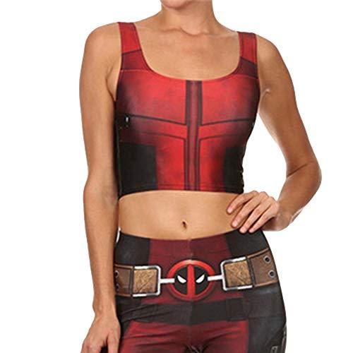 Cosplay Kostüm Deadpool Gedruckt Weste Stretch Leggings Set Halloween Maskerade Kostüm Kleidung Ärmelloses Top und Strumpfhose,Vest-S