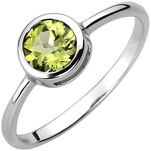 JOBO Damen-Ring aus 925 Silber mit Peridot Größe 56