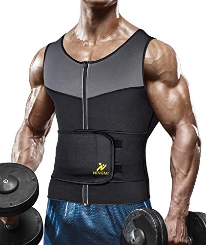 NINGMI Sauna Vest with Waist Trainer for Men - 2 in 1 Mens Sweat Body Shaper Waist Trimmer Workout Jacket Weight Loss Belt Fitness Neoprene Sauna Suit