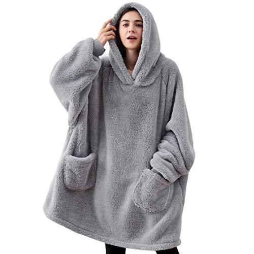 Bedsure Blanket Hoodie, Standard Velveteen Wearable Blanket, Blanket Sweatshirt with Deep Pockets and Sleeves for Adults Kids Teen, Grey