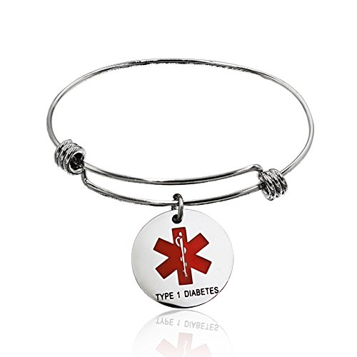 Comfybuy Stainless Steel Type 1 Diabetes Medical Alert ID Bracelet Adjustable Cuff Bangle for Men Women