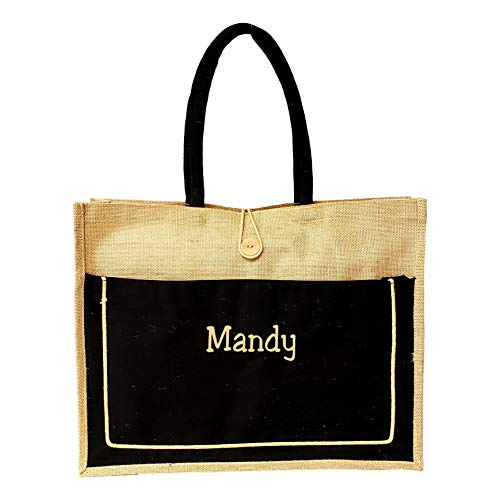 Vintage Style Jute with Black Cotton Pocket Reusable Large Tote Grocery Shopping Bag - Custom Personalization Available (Beige w/Black Pocket with Embroidered Name)