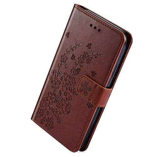 Best Deals! Herbests Compatible with Samsung Galaxy S10 Wallet Case Embossed Plum Flower Luxury PU L...
