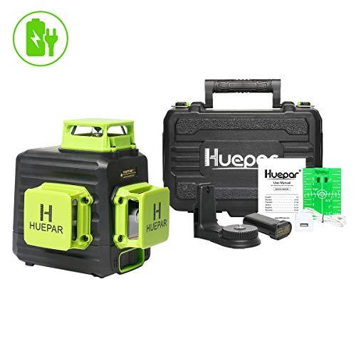 Huepar 360 Livella Laser 12 Linee Verde 45m con Modalità Impulso, con Batteria al Litio Ricaricabile USB, 3D Linea Laser Autolivellante 3x 360 a Croce Orizzontale/Verticale, 360° Base magnetico,B03CG