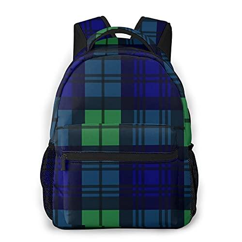CVSANALA Multifuncional Casual Mochila,Patrón de tartán estilo reloj negro en azul marino, verde y negro,Paquete de Hombro Doble Bolsa de Deporte de Viaje Computadoras Portátiles