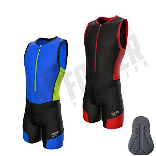 Triathlon-Anzug für Herren von Foxter, zum Schwimmen, Laufen, Fahrradfahren, rot, xxl