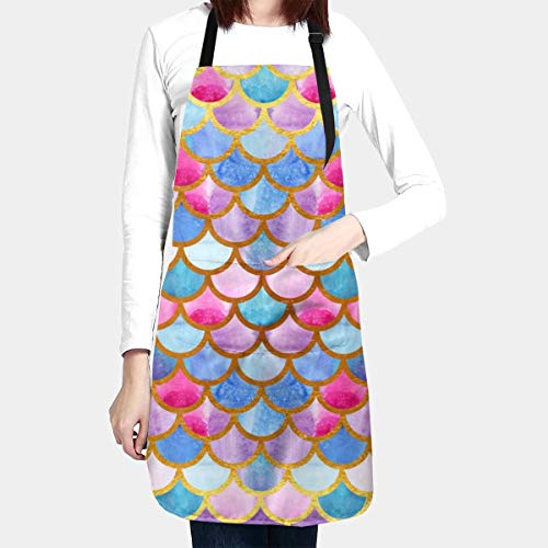 Abucaky Mermaid Fish Scales Apron Waterproof for Adults Chef Bib with Roomy Pocket for Kitchen BBQ Crafting Drawing
