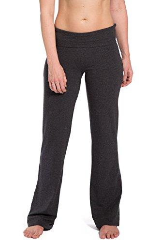 Fishers Finery Women's Ecofabric Foldover Yoga Pants (H Gray, L Tall)